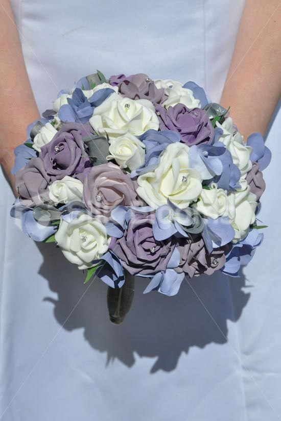 Luxurious Artificial Purple, Lilac, Ivory and Grey Rose and Hydrangea Wedding Bridal Bouquet #artificialflowers #wedding #weddingflowers #bouquet #flowers #bridal #silkflowers #hydrangea #rose #lilac