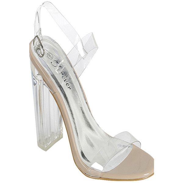 4f06eabcc25 Nude open toe chunky clear transparent perpetual perspex high heel ( 20) ❤  liked on Polyvore featuring shoes