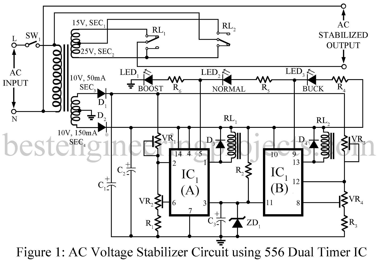 ac voltage stabilizer circuit using 556 ic best engineering rh pinterest com circuit diagram of servo voltage stabilizer circuit diagram of servo voltage stabilizer
