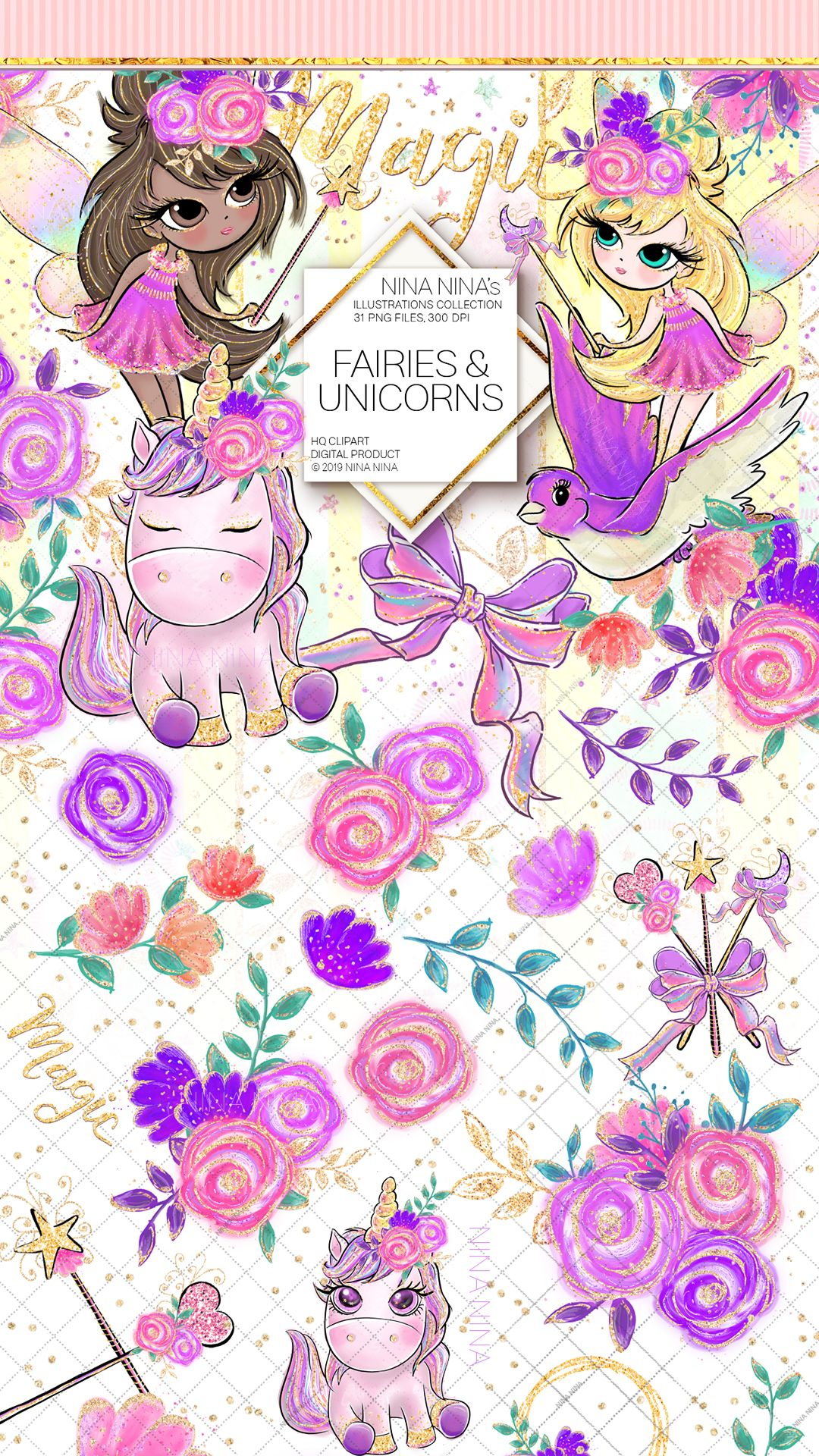 Fairy glitter. Clipart unicorn clip art