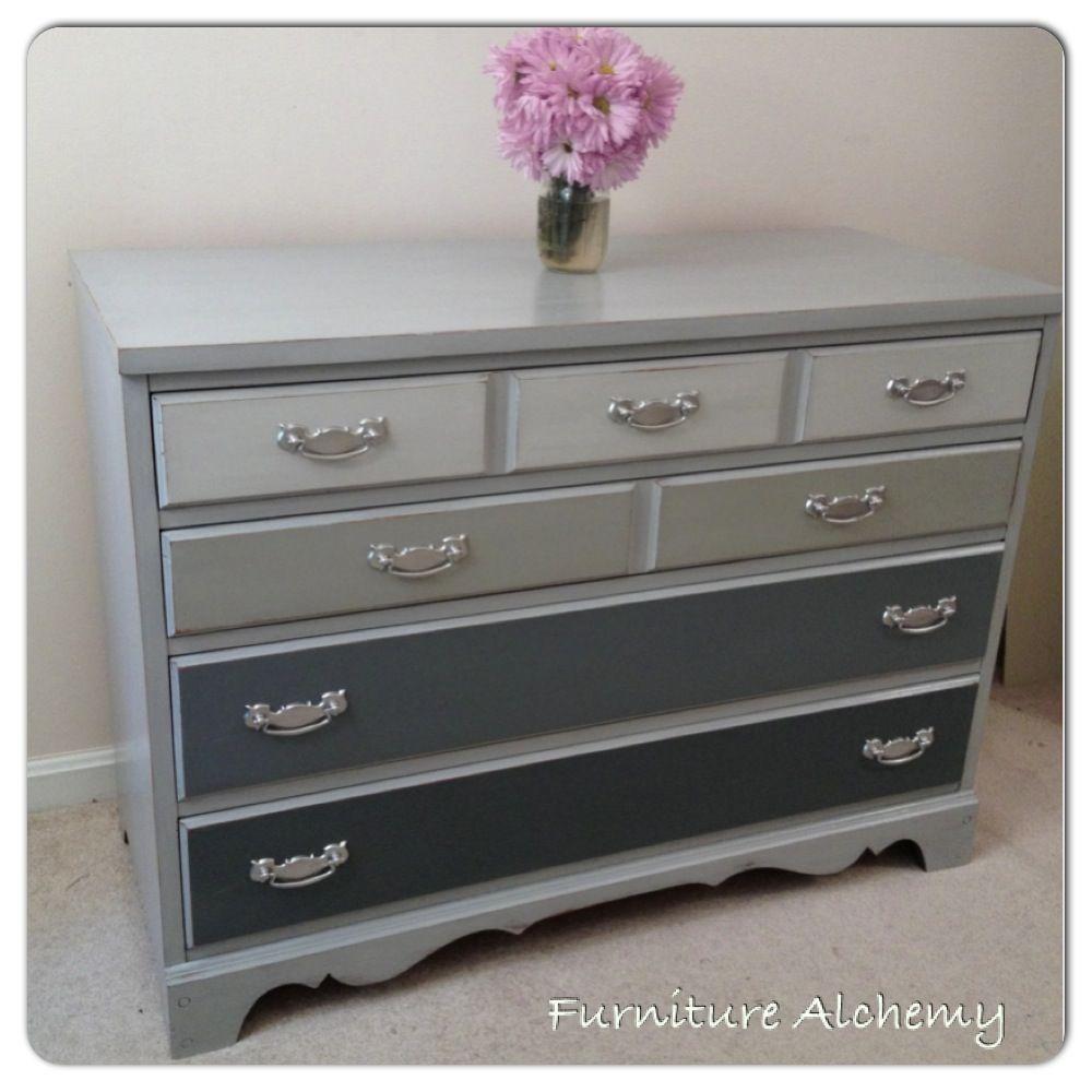 Annie Sloan Chalk Painted Grey Ombre Dresser by Furniture Alchemy ...