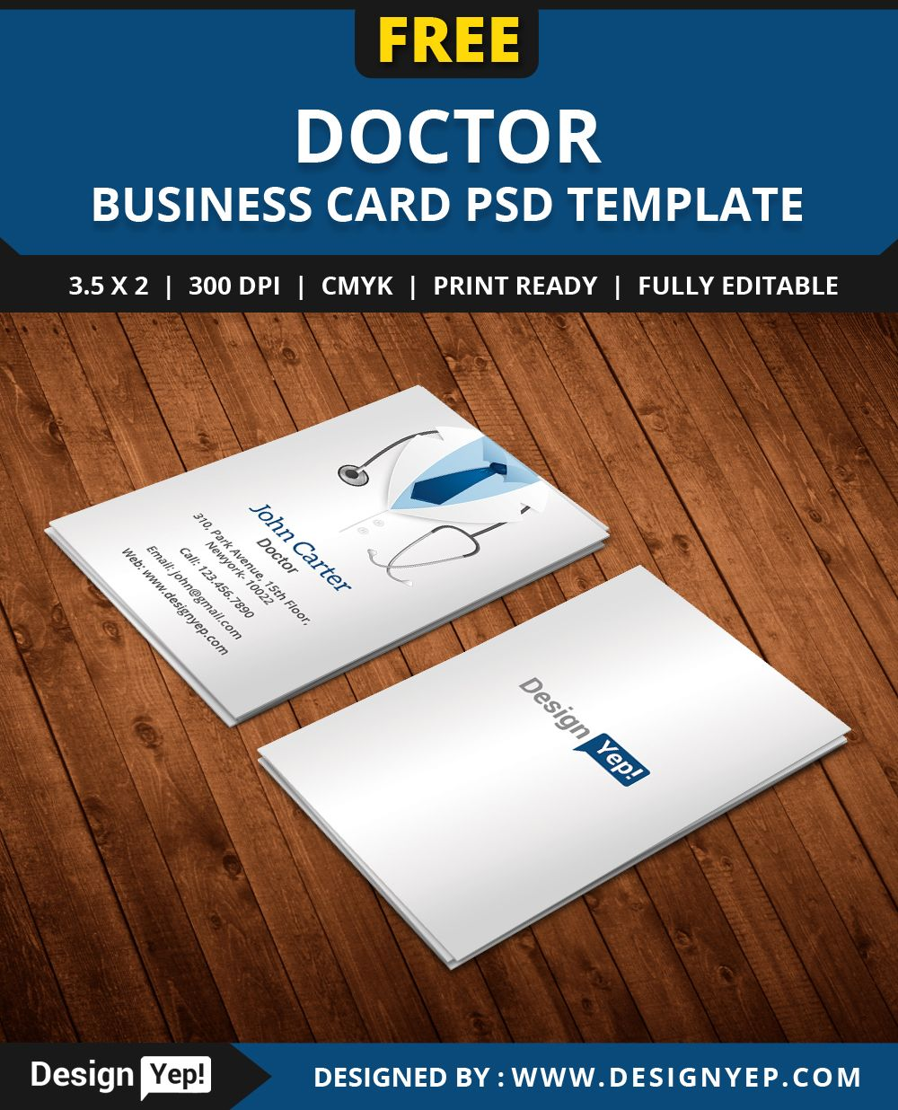 Free Doctor Business Card Template PSD   Free Business Card     Free Doctor Business Card Template PSD