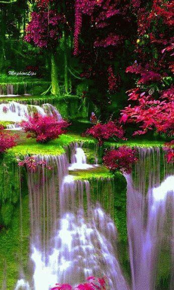 Beautiful Landscape Nature Waterfall Green Red Waterfall Beautiful Landscapes Beautiful Nature