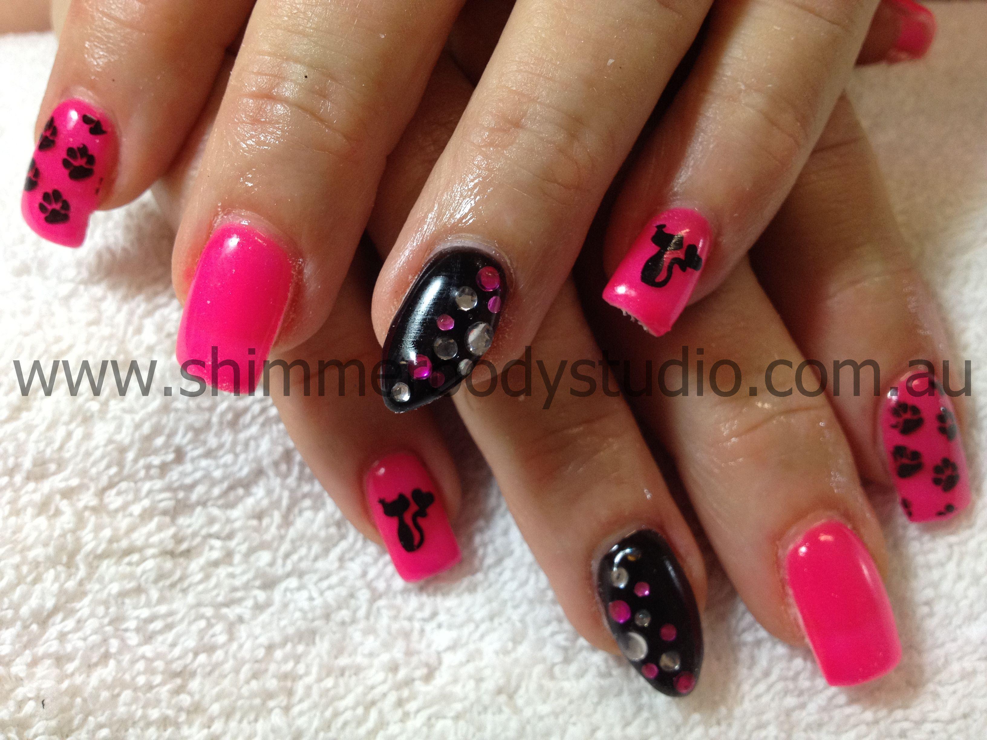Gel nails, coloured nails, pink, black nails, konad stamping nail ...