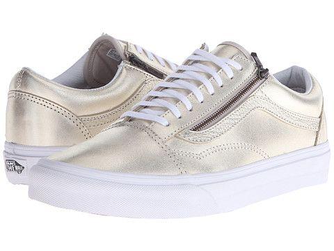 Vans Old Skool Zip (Metallic Leather) Wheat GoldTrue White