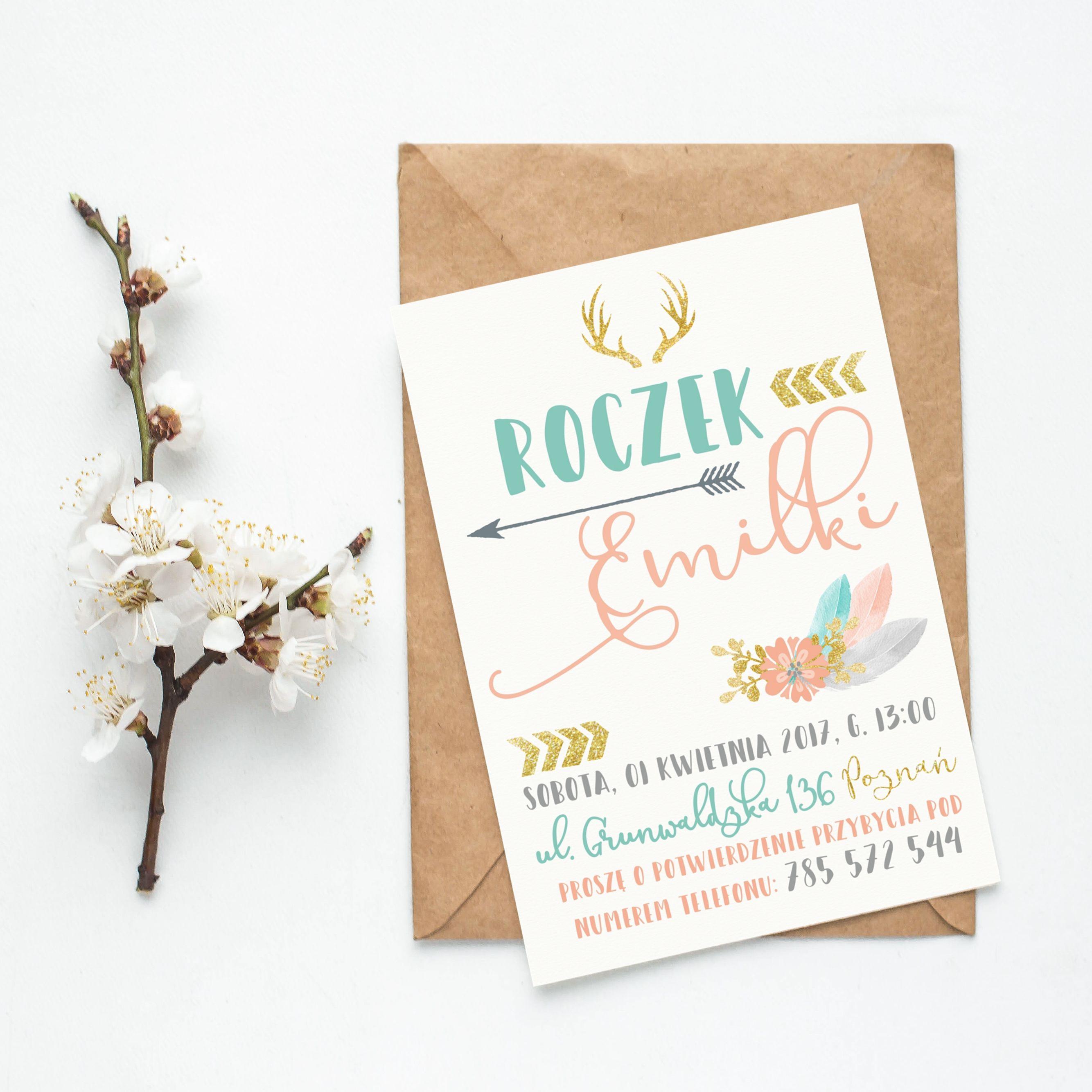 Zaproszenie Na Roczek Boho Mafodesign With Images