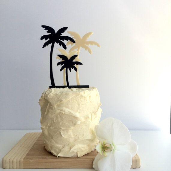Black and cream - Palm tree cake topper | Palm tree cakes ...
