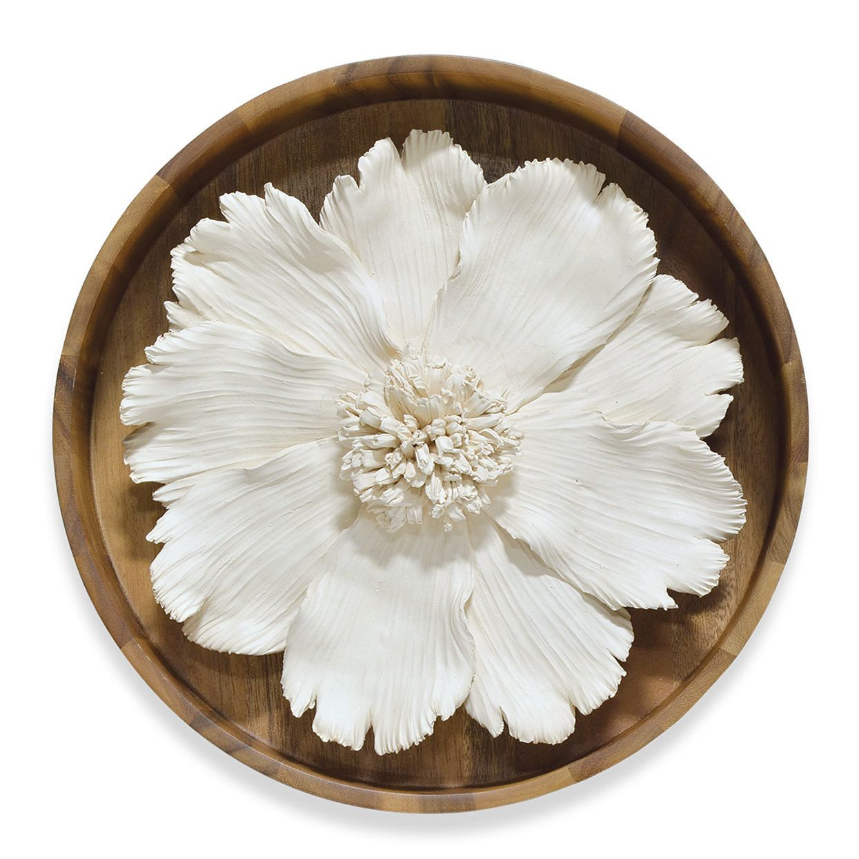 Ceramic flower on wood wall décor products pinterest ceramic