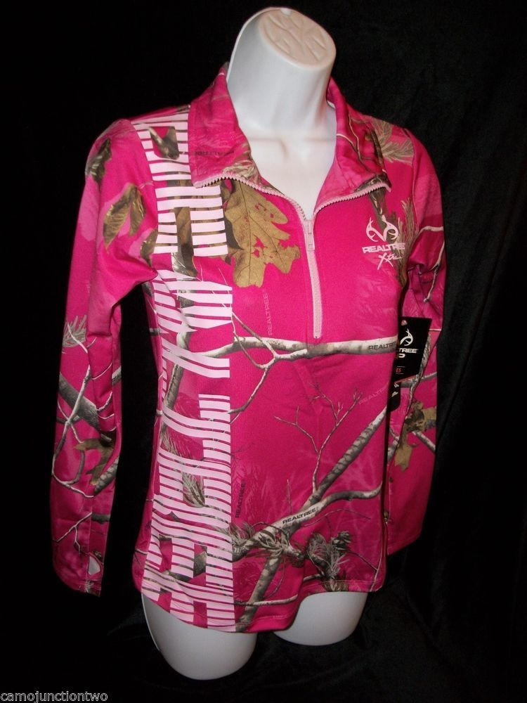 Womens/Ladies Realtree Xtra Camo Hot Pink 1/4 Zip Pullover Jacket ...