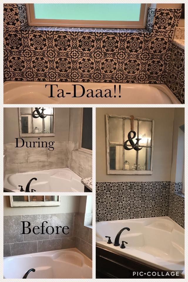 A budget friendly bathroom makeover! Use the Amalfi Tile Stencil for ...