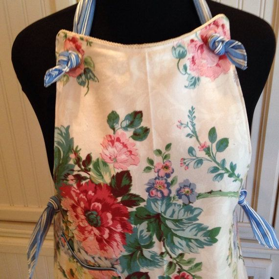 Vintage style full apron reversible blue by Littlebirdproductset