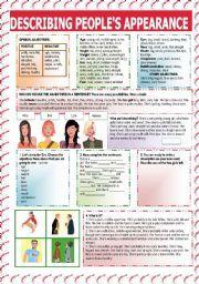 english worksheet describing people s appearance backpack english pinterest worksheets. Black Bedroom Furniture Sets. Home Design Ideas