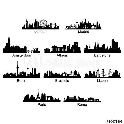 City Skyline Of European Country Vector Silhouette City Silhouette City Skyline Silhouette Silhouette Vector