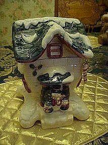 Snowmans cottage cookie jar