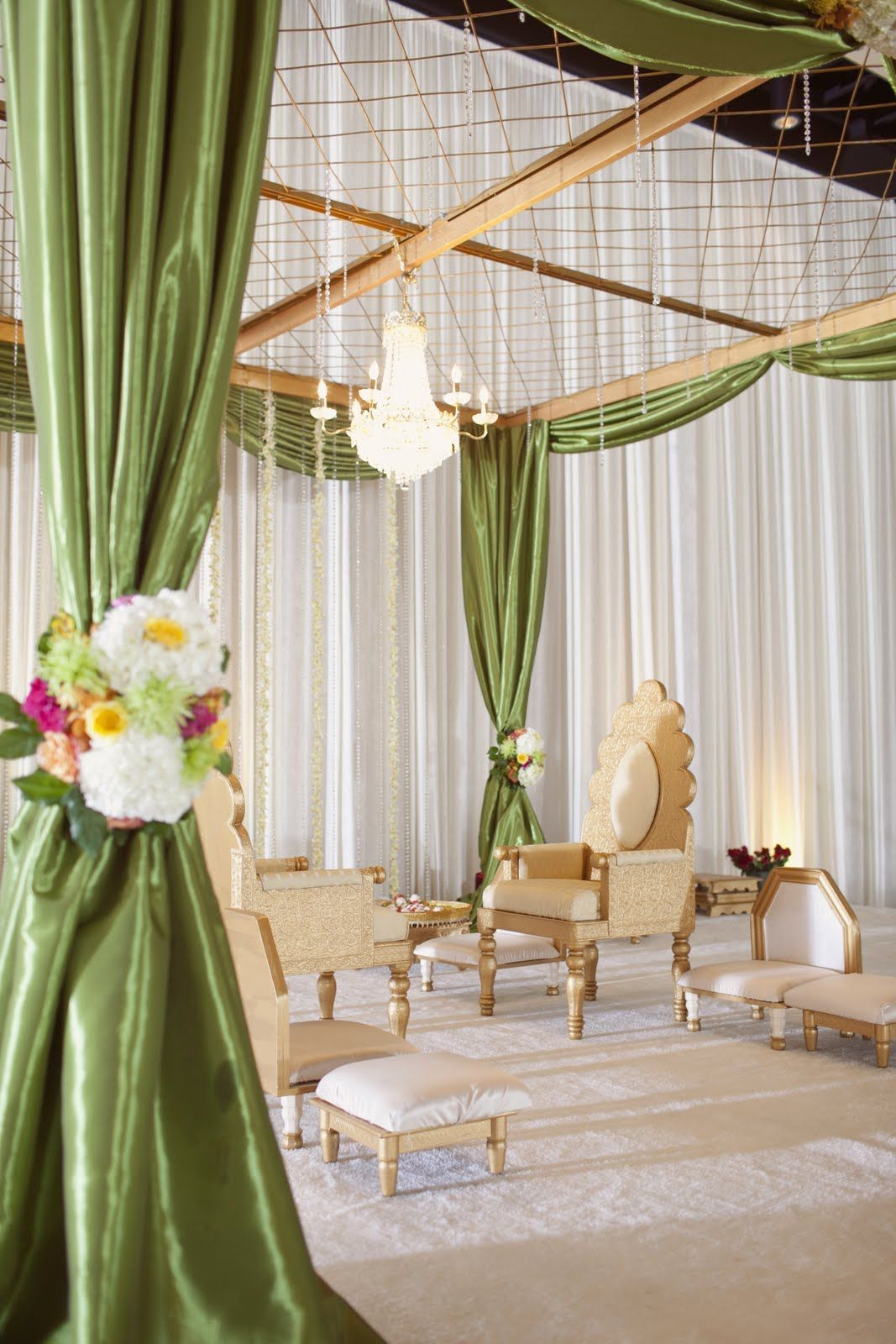 green mandap closeup or could be used for canopy during event for vignettes - Green Canopy Decoration