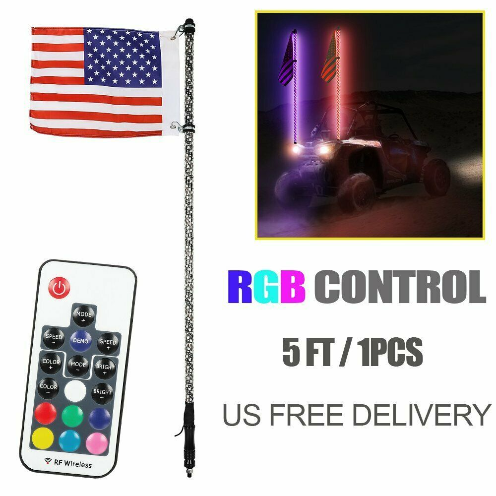 2pc 4ft Spiral Led Whip Lights W Flag 21 Modes 20 Colors Wireless Remote Weatherproof Lighted Antenna Whips Accessori Polaris Utv Weatherproofing Rzr