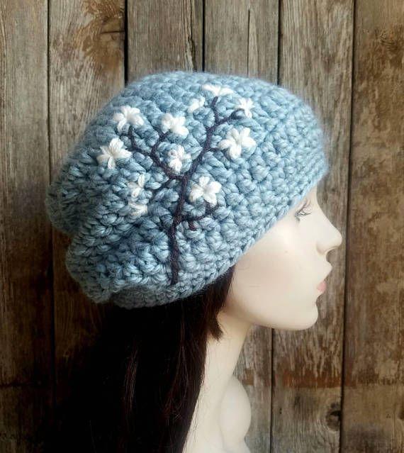 Mujeres Slouchy sombrero con flor de cerezo Slouchy Beanie   GORROS ...