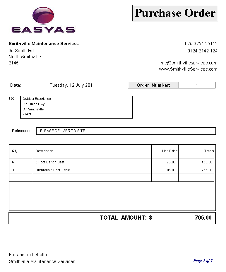 Purchase Order  Purchase Order Templates    Order Form