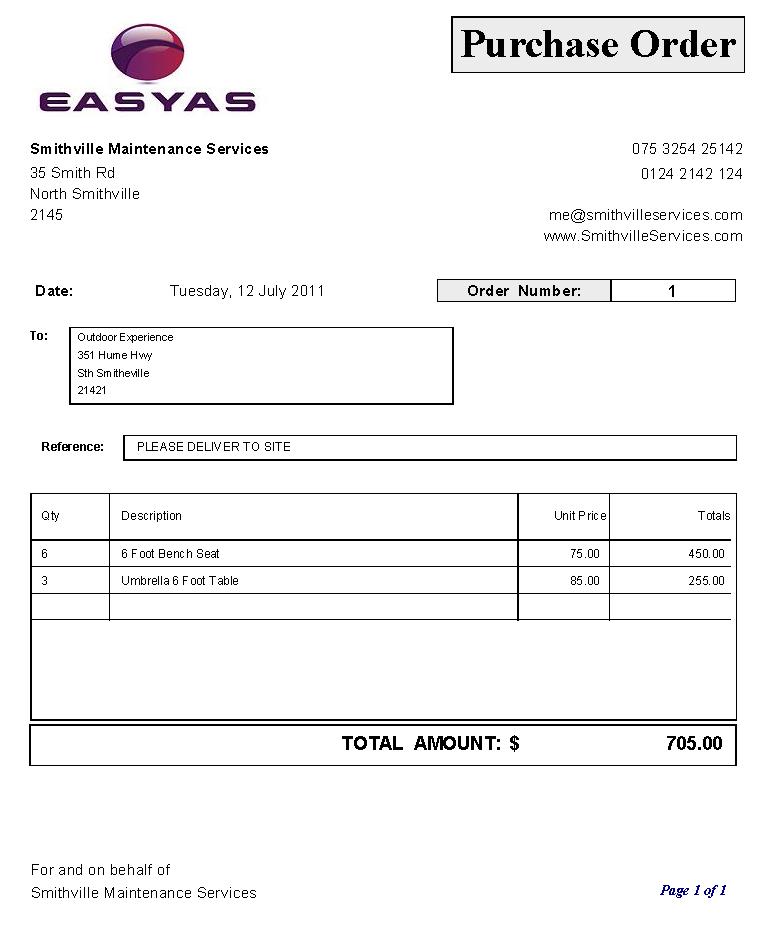 purchasing order sample