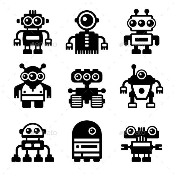 Robot Icon Set Robot Icon Vector Robot Robots Illustration Kids