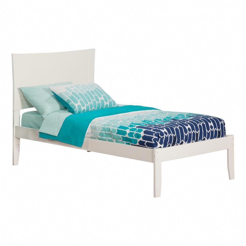 atlantic furniture metro white twin platform bed with open foot rh pinterest com