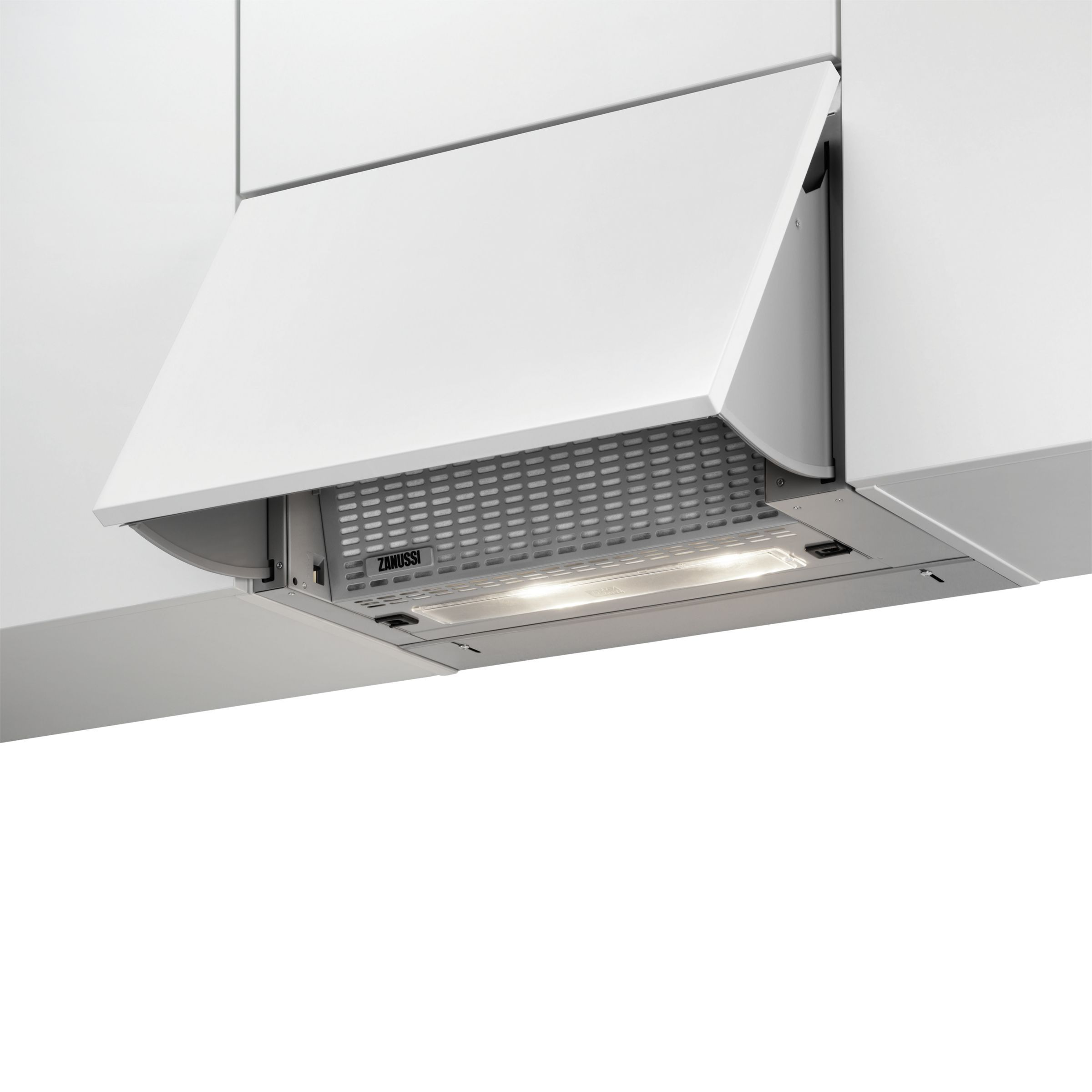 Zanussi Zhi612g Integrated Pullout Cooker Hood Light Grey In 2020 Cooker Hoods Extractor Hood Home Collections