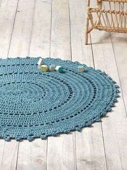 TAPIS ROND CROCHET - bleu vert | tapis rond crochet, jute ...