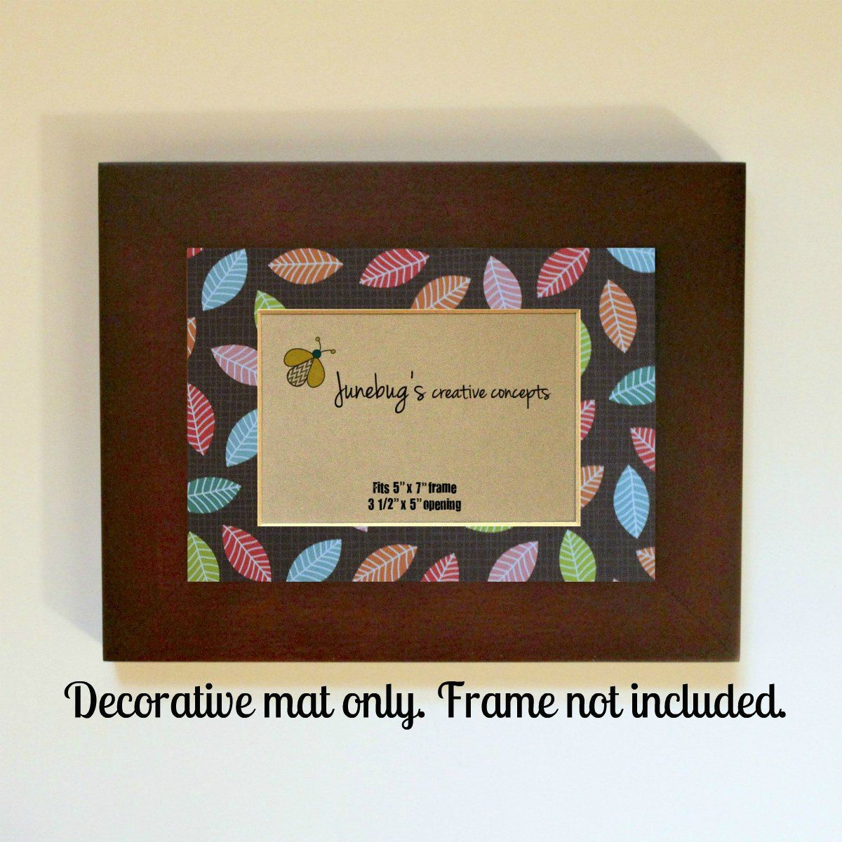 3x5 Photo Mat Fits 5x7 Frame Bright Color Leaves By Junebugscc On