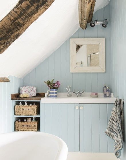 Country Blue Bathroom With Bespoke Vanity Unit The Room Edit Cottage Bathroom Inspiration Country Blue Bathrooms House Bathroom Designs