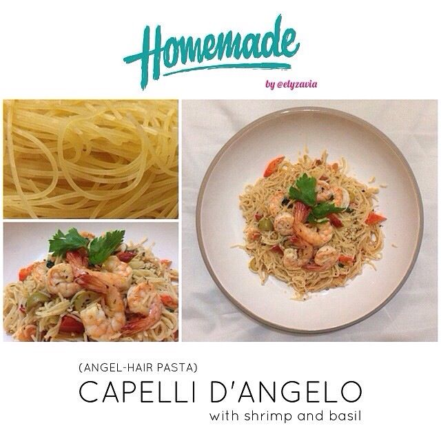 Capelli D Angelo With Shrimp Basil Ingredients Angel Hair Pasta