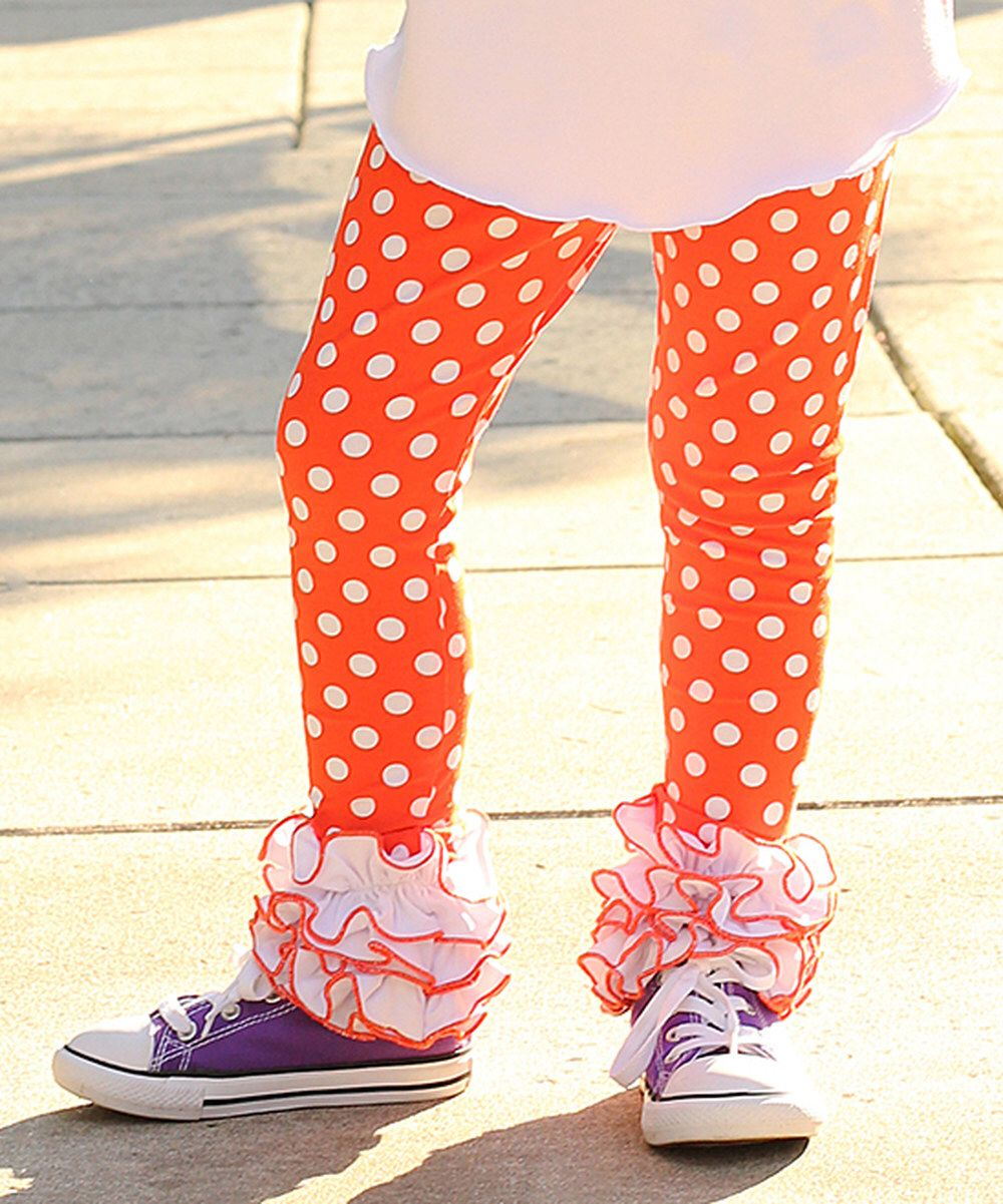 0e527f678e5754 Look at this Sew Sassy Boutique Orange & White Polka Dot Icing Leggings -  Infant, Toddler & Girls on #zulily today!