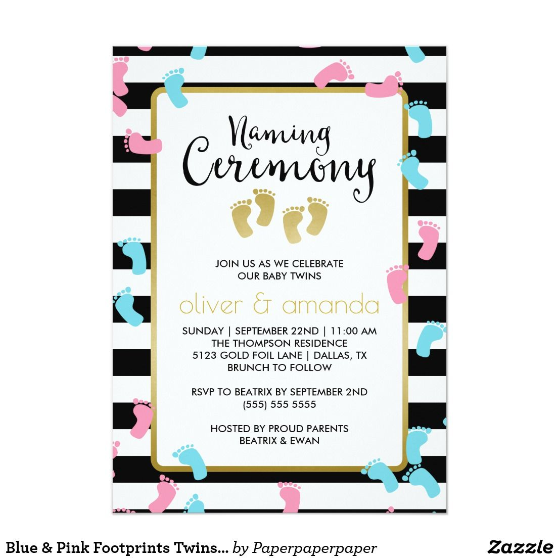 Blue Pink Footprints Twins Naming Ceremony Invitation