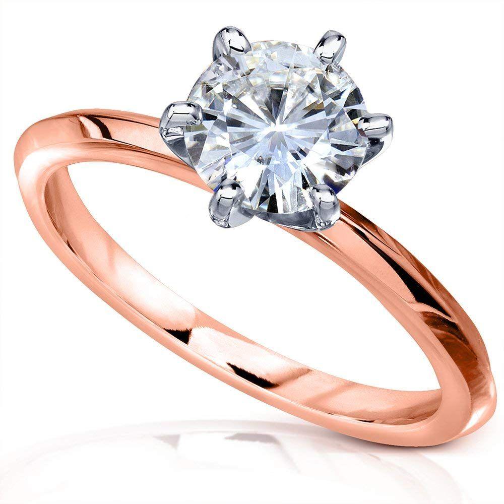 Classic Solitaire Round Brilliant Moissanite Engagement Ring 1 Carat 1 Classic Engagement Ring Solitaire White Gold Engagement Rings Moissanite Engagement Ring