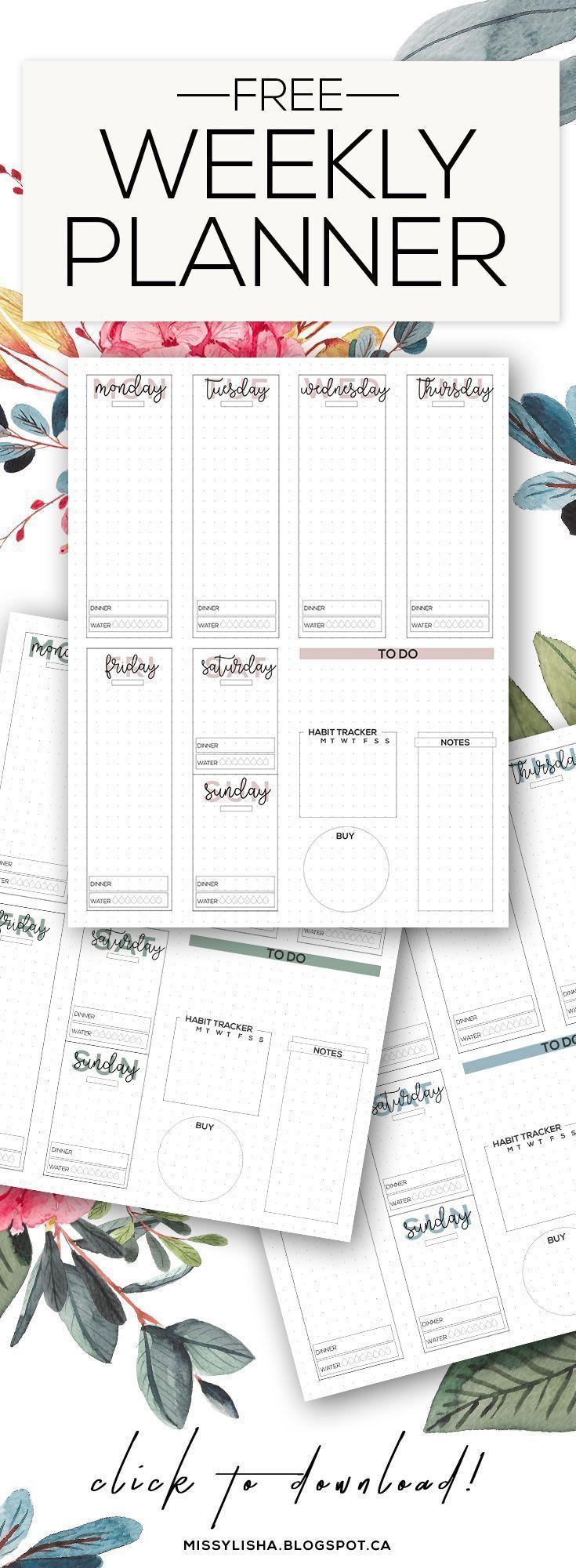 FREE Weekly Planner (Bullet Journal inspiriert!). Organisiere dein Leben, damit du produktiv sein kannst #bossbabe missylisha.blogsp ...