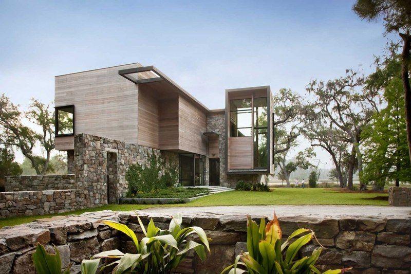 Magistrale maison bois et pierre contemporaine sur lu0027île de Bray