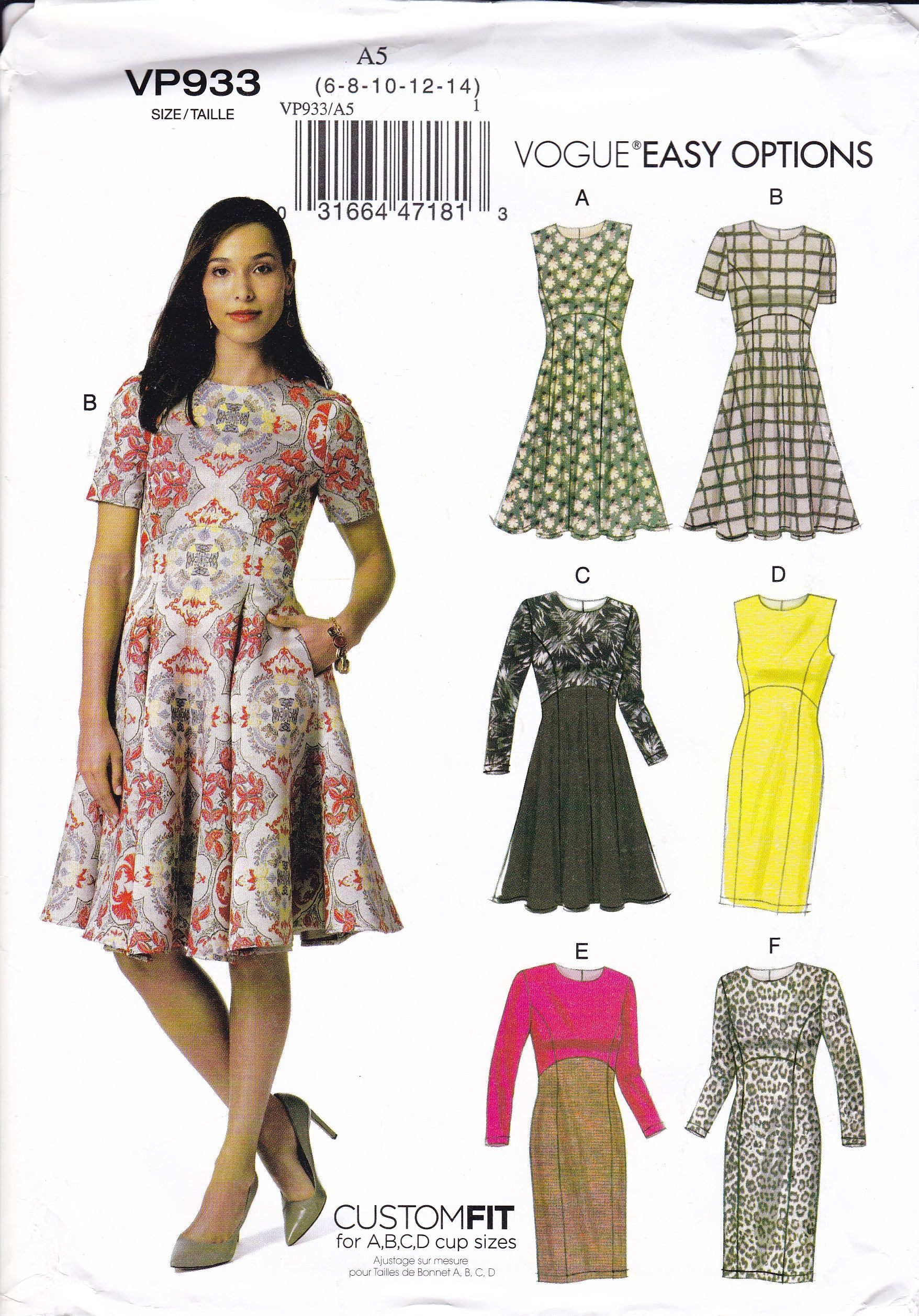 Free Us Ship Vogue 933 9167 Sewing Pattern Custom Fit Curved