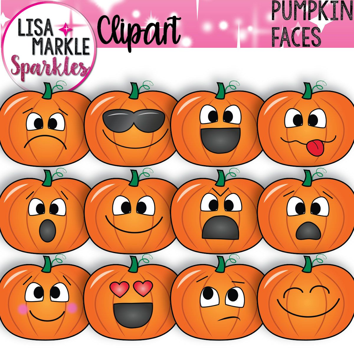Pumpkin Clipart, Emoji Clipart, Fall Clipart Pumpkin