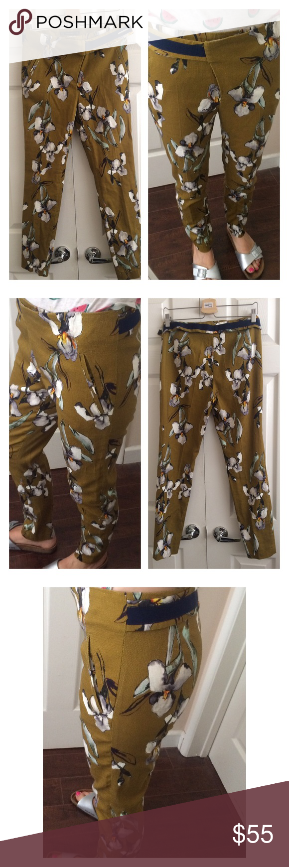 "Zara Floral Pants Pants with floral print made from a thick robust fabric. Reminds me of a combination of linen and canvas. One snag near left print pocket which has been there when I bought them. Unworn condition. 15.5"" waist 10"" rise 27.5"" inseam Zara Pants Trousers"