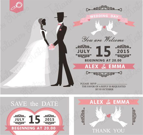 Retro wedding invitation vector by tatiana kost design on creative retro wedding invitation vector by tatiana kost design on creative market stopboris Images