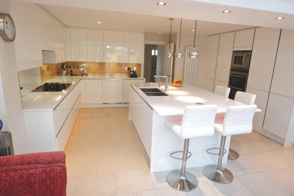High Gloss White Island Kitchen Design