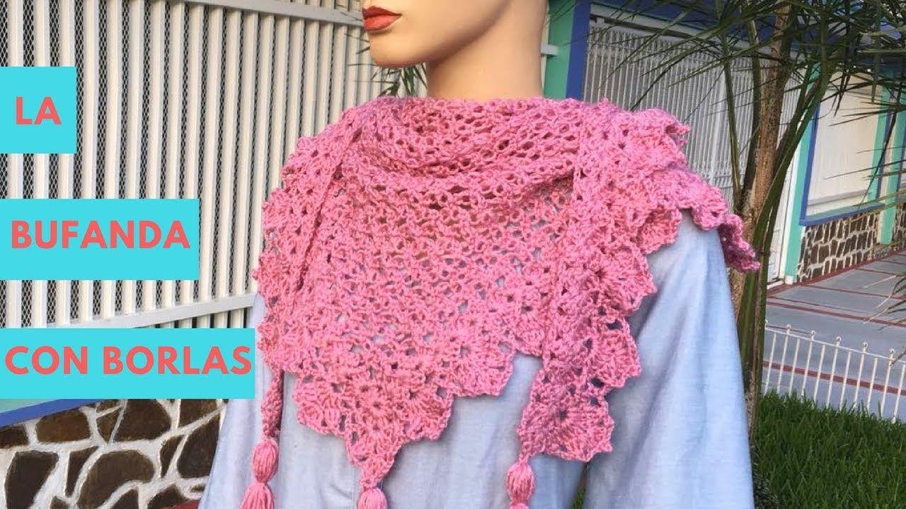 Bufanda Multiusos con Borlas Tejida en Crochet - YouTube | crochet ...