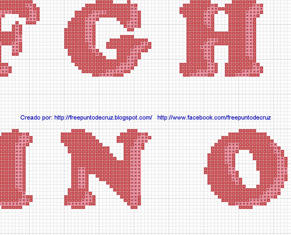 Abecedario Mayusculas dos colores en patrones punto de cruz | letras ...