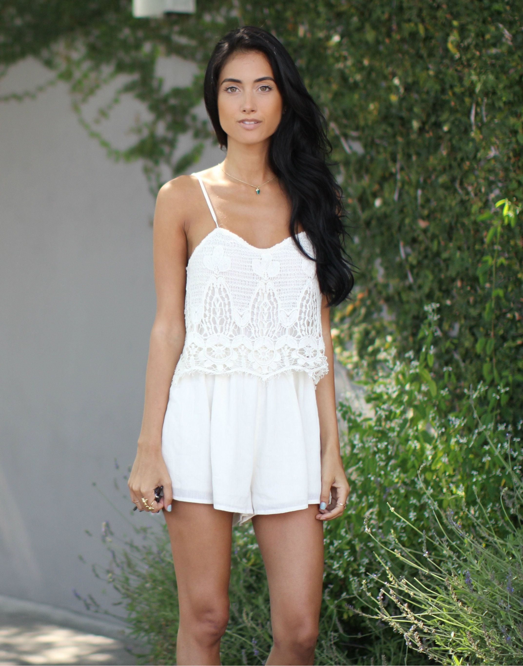 c851572627a2 Racquel Natasha pairs our Crocheted Front Romper with her favorite chunky  sandals and oversized sunglasses for the perfect summer outfit.  AEOSTYLE