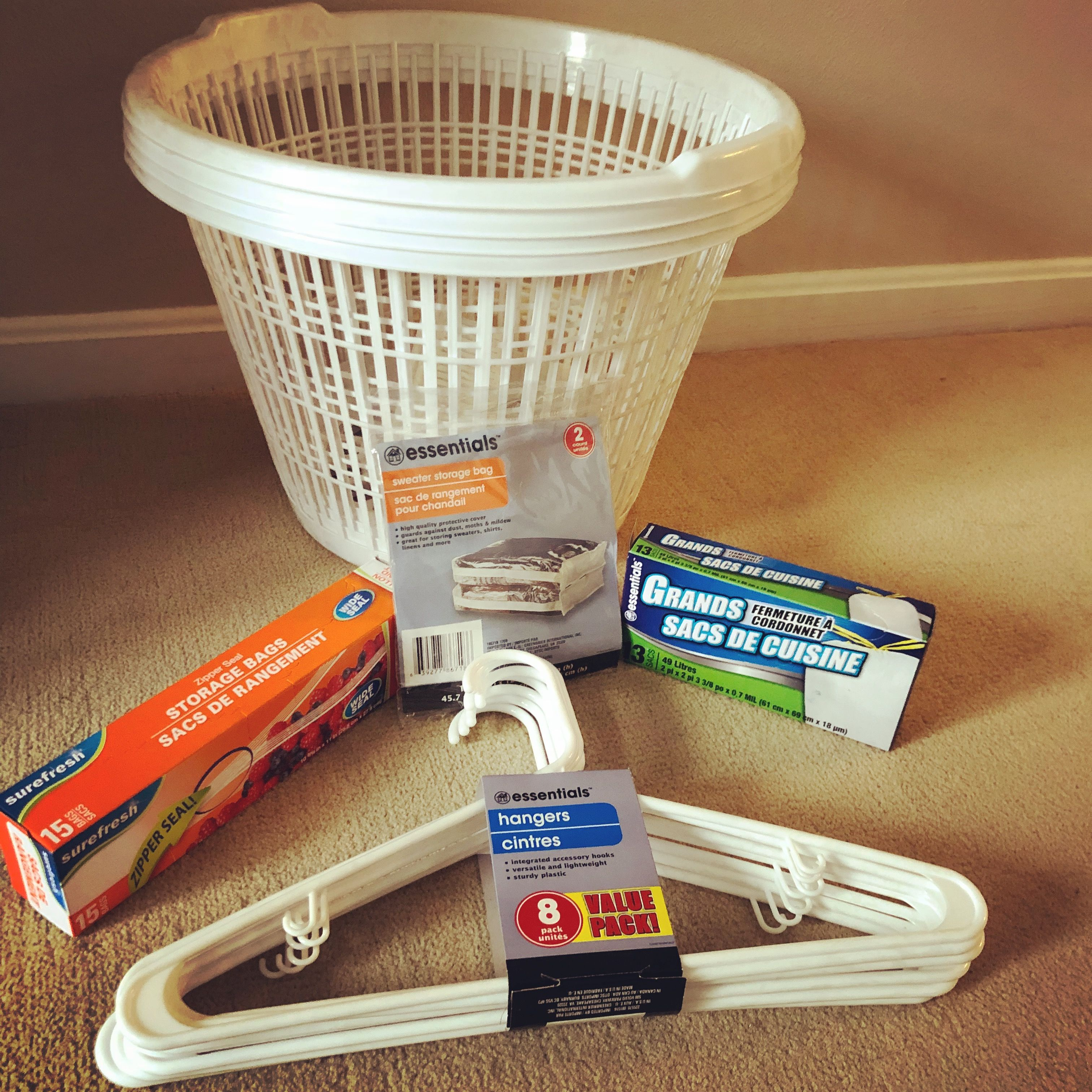 Use Dollar Tree Laundry Baskets Hangers Garbage Bags And Zip