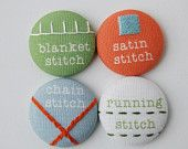 Magnets or pins, Hand Embroidered Modern Sampler Magnets in SUMMER BERRY Colors. $16.00, via Etsy.