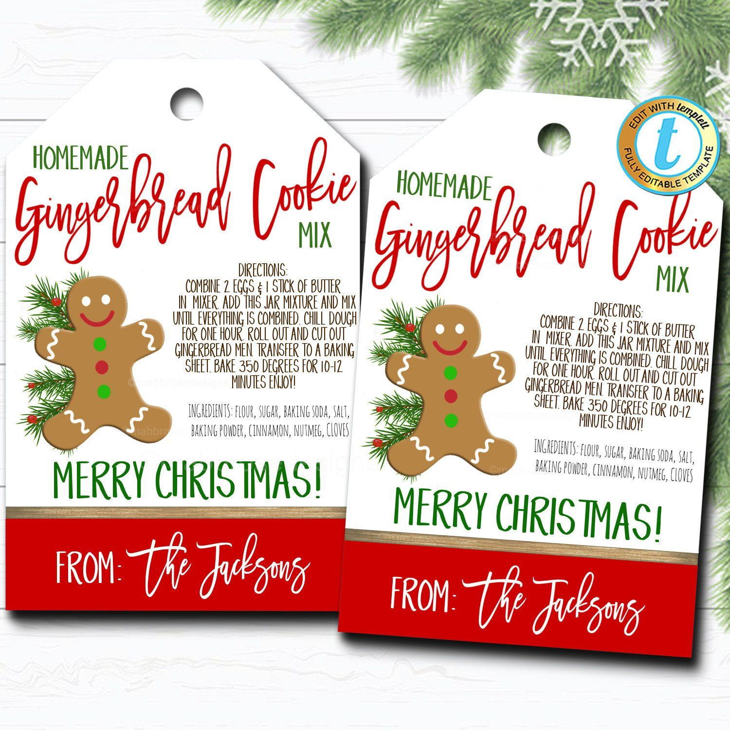 Christmas Gift Tags Cookie Jar Mix Gingerbread Recipe Tag Holiday Teacher Staff Secret Santa Gift Xmas Treat Label Diy Template Christmas Gift Tags Xmas Treats Holiday Gift Tags