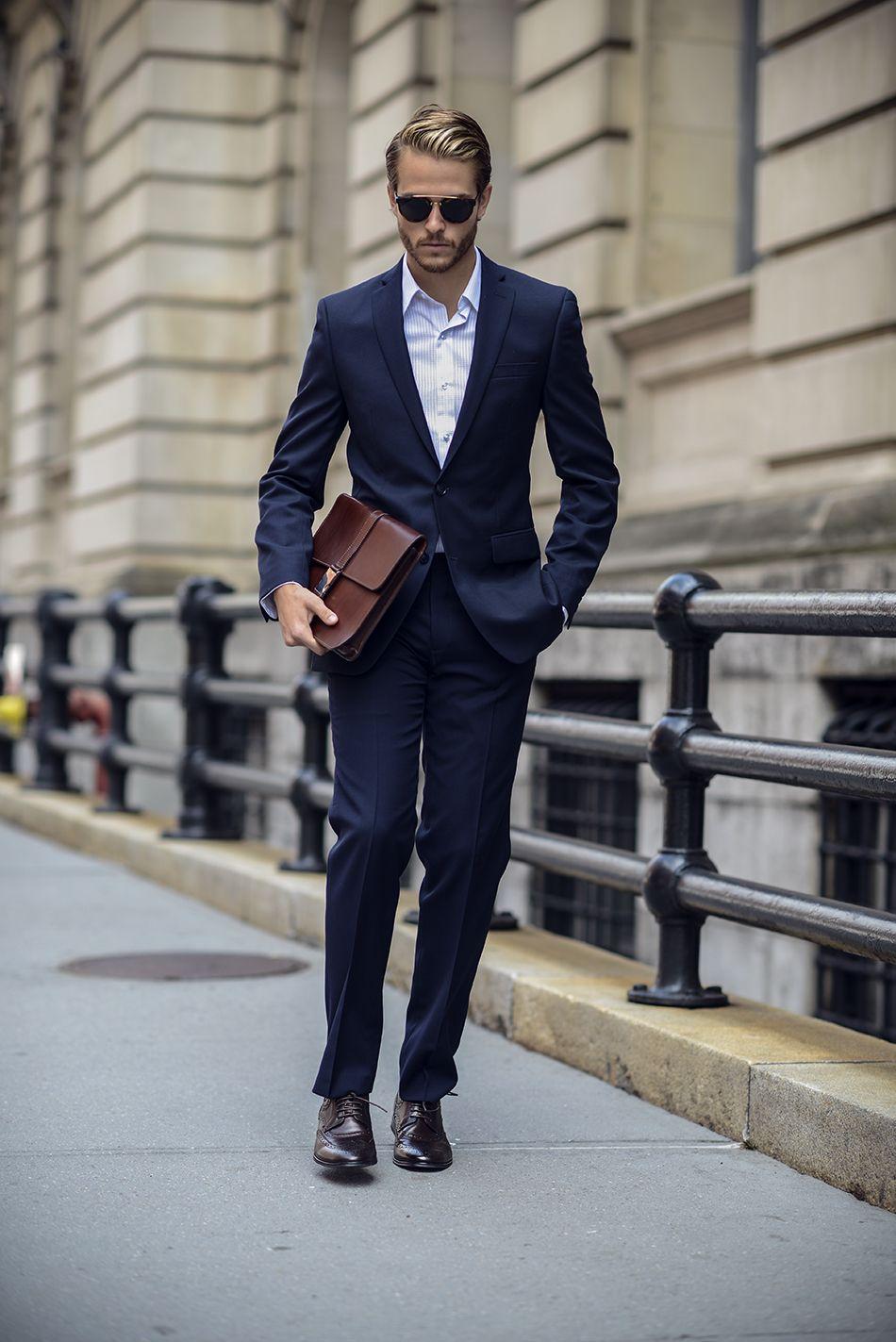 Bar 3 Navy Suit Slim Fit Gingham Shirt Tristan Wing Tip Oxfords