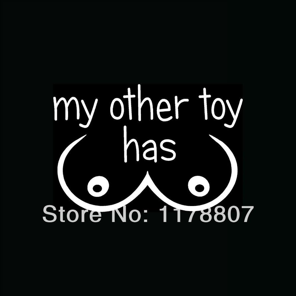 Wholesale my other toy has boobs sticker tits for car truck window your decal will come as three pieces the backing paper the sticker itself and the clear transfer tape sciox Gallery
