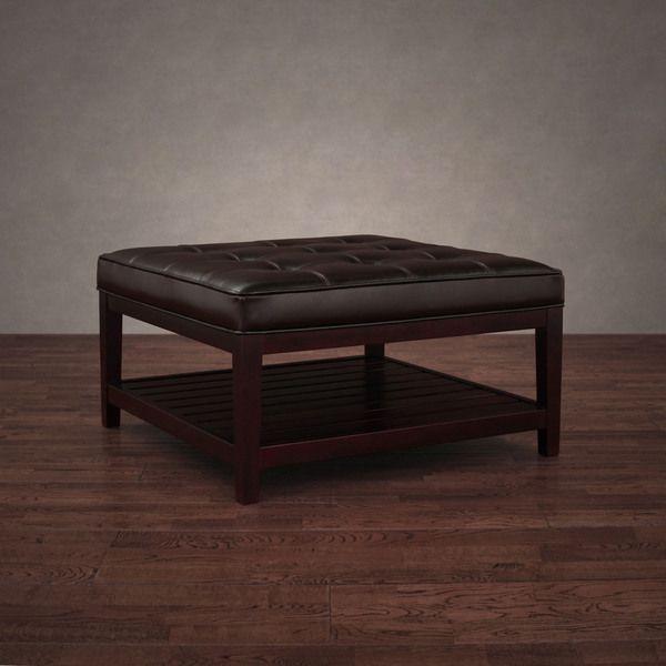 32 X Hudson Dark Brown Leather Ottoman32 Square 300