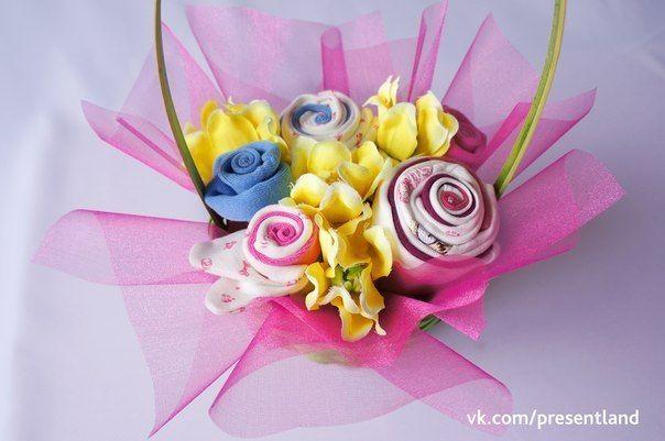 How to DIY Baby Clothes Flower Bouquet | Blumenstrauß, Babys und ...